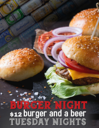 Restaurant Pub or Bar burger Special Night Flyer