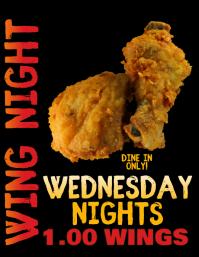 Restaurant Pub or Bar Wing Special Night Flyer