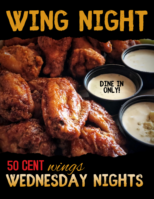 Restaurant Pub or Bar Wing Special Night Flyer