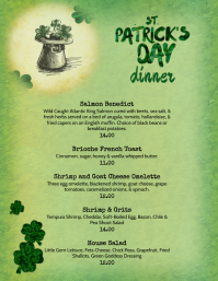 Restaurant Saint Patrick's Day Brunch Menu