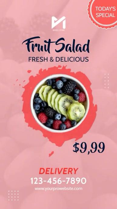 Restaurant Salad Bar Menu Video Ad Digital Display (9:16) template