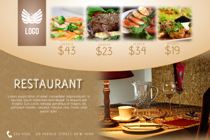 restaurant special menu offer flyer template gold landscape luxury