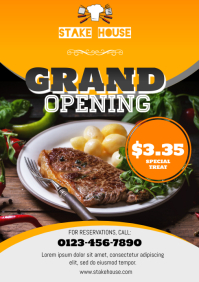 Restaurant Stake House Grand Opening Flyer A4 template