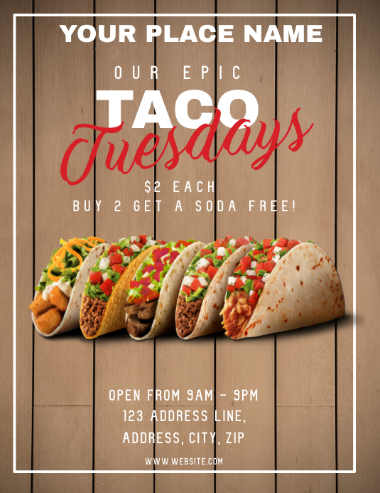 Restaurant Taco Tuesday ad Flyer Template Volante (Carta US)