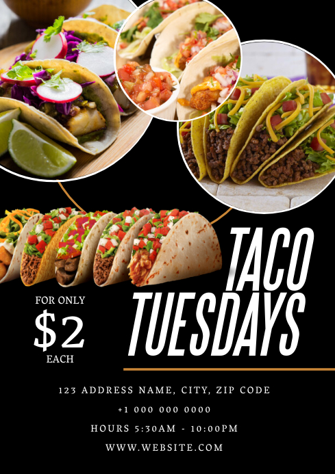 Restaurant Taco Tuesdays Flyer ad Template
