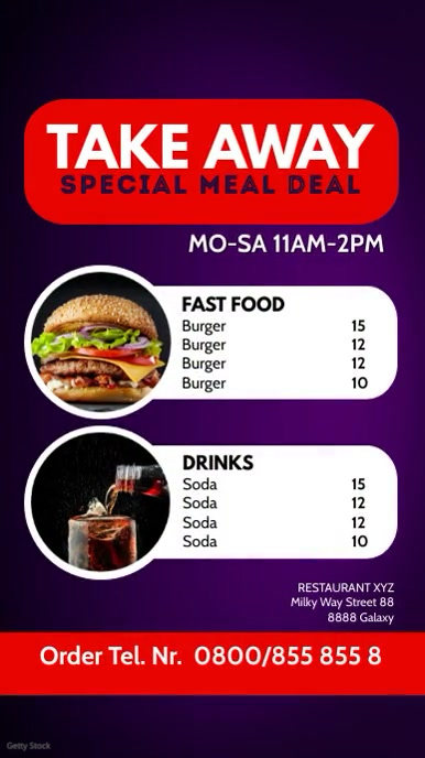 Restaurant Take Out Away Fast Food Offer Ad Instagram Story template