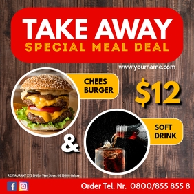 Restaurant Take Out Away Fast Food Offer Ad Instagram Post template