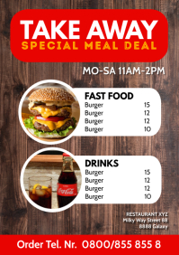 Restaurant Take Out Away Fast Food Offer Ad A4 template