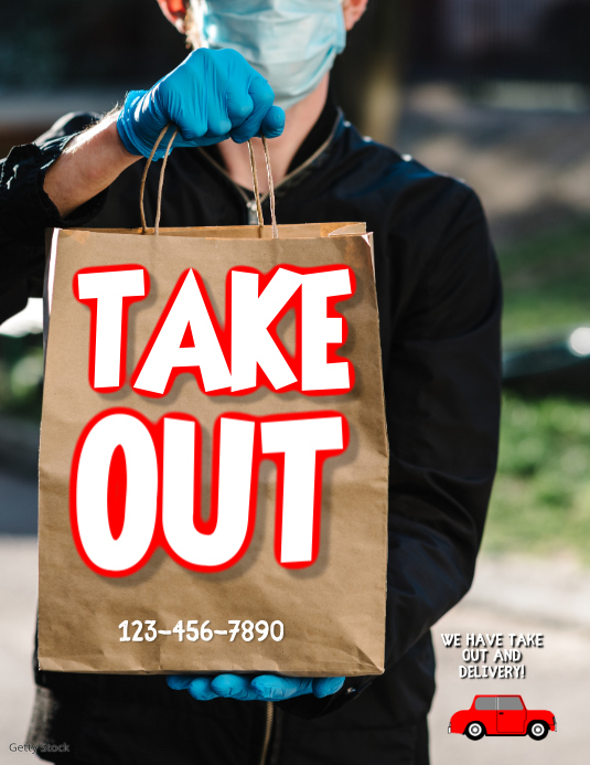 restaurant takeout and delivery covid flyer Løbeseddel (US Letter) template