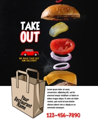 restaurant takeout and delivery flyer
