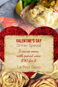 Restaurant Valentine's Day Dinner Special Flyer
