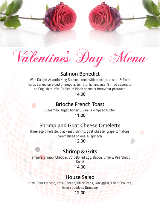 Restaurant Valentine's Day Menu