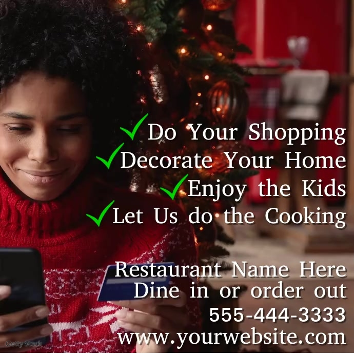 """Restaurant Video Christmas """"Let Us Cook"""" Ad template"""