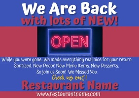 Restaurant We Are Back Video Kartu Pos template