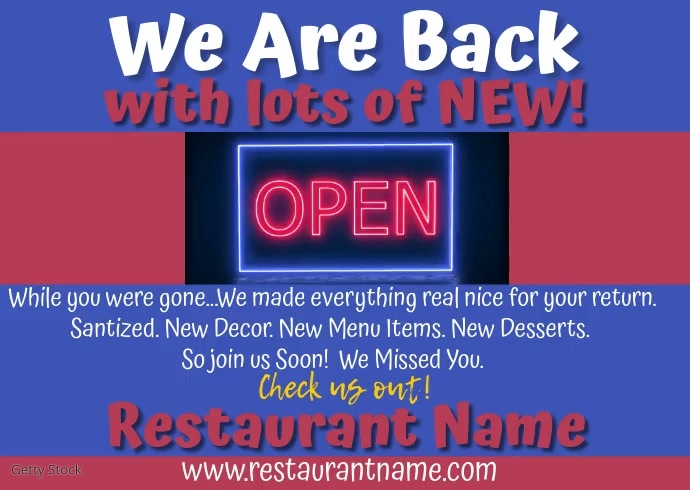 Restaurant We Are Back Video Postcard template