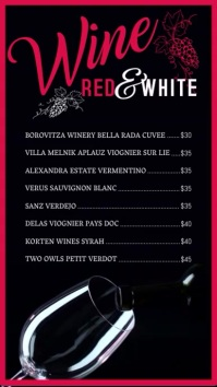 Restaurant Wines Video Menu template