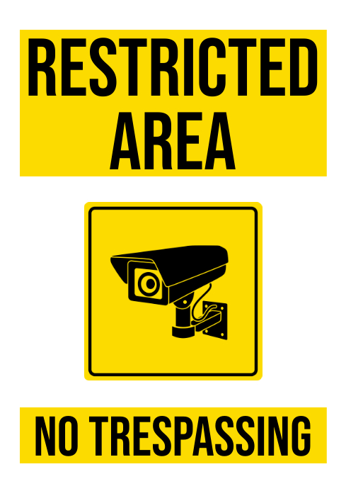 restricted area sign A4