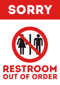 Restroom out of order door sign printable a4 template