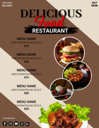 Restuarant,menu Flyer (US Letter) template