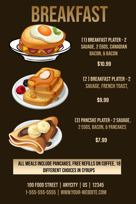 restaurant breakfast menu template postermywall. Black Bedroom Furniture Sets. Home Design Ideas
