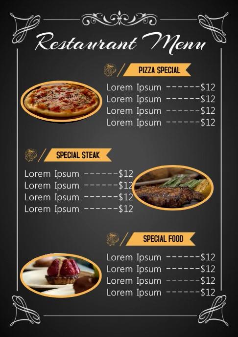 Resturant Menu video A4 template