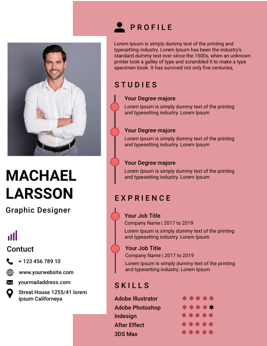 Resume/CV Flyer (format US Letter) template