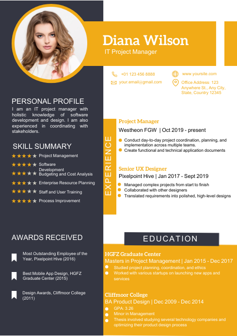 RESUME TEMPLATE (Gray and Yellow) A4