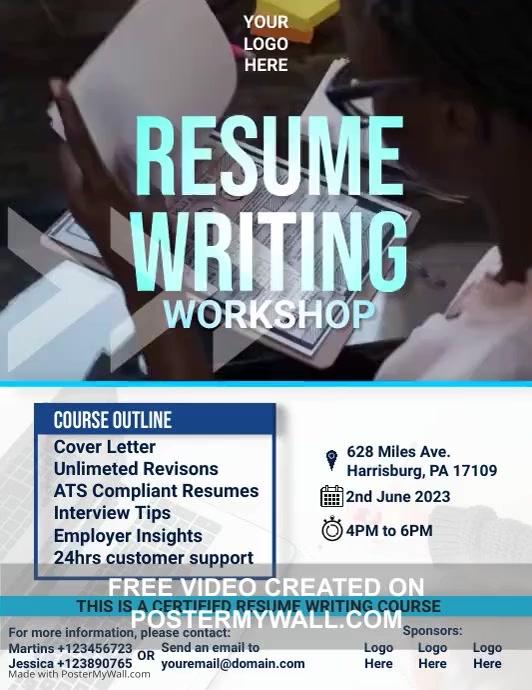 Resume Writing Workshop Flyer Volante (Carta US) template