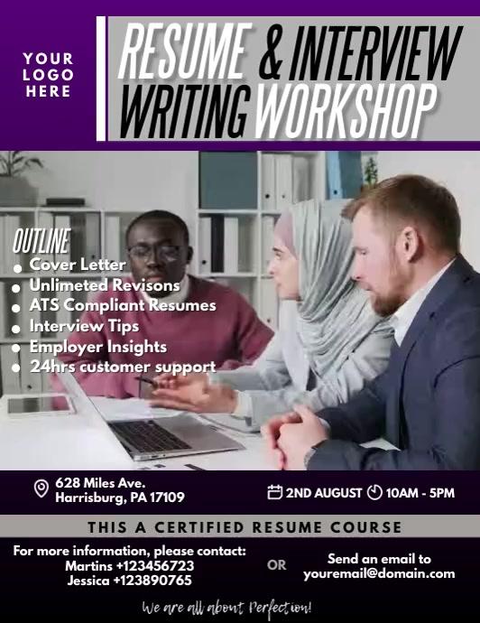 Resume Writing Workshop Video Flyer Volante (Carta US) template