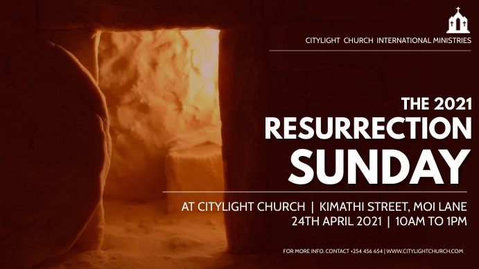 RESURRECTION SUNDAY church flyer Digital na Display (16:9) template