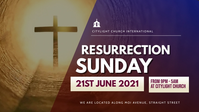 RESURRECTION SUNDAY church flyer Digitalt display (16:9) template