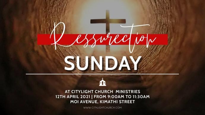 resurrection sunday church flyer 数字显示屏 (16:9) template