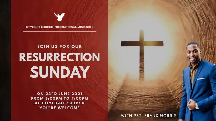 RESURRECTION SUNDAY church flyer Pantalla Digital (16:9) template