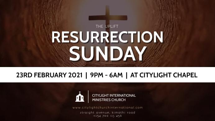 RESURRECTION SUNDAY CHURCH flyer Digital na Display (16:9) template
