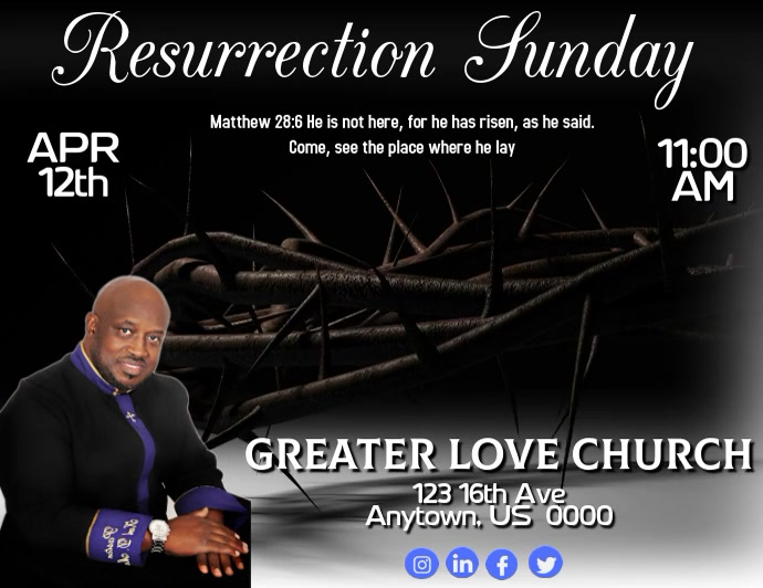 Resurrection Sunday Flyer (Letter pang-US) template