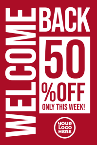 Retail 50% off sale poster banner template