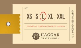 Retail Clothing Brand Sizes Tag Cartellino template