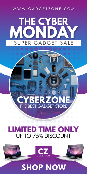 Retail Cyber Monday 2'x5' Roll up Banner template