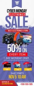 Retail Cyber Monday 3'x6' Electronics Sale Ba ป้ายโรลอัป 2' × 5' template