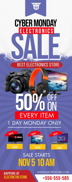 Retail Cyber Monday 3'x6' Electronics Sale Ba Roll Up Banner 2' × 5' template
