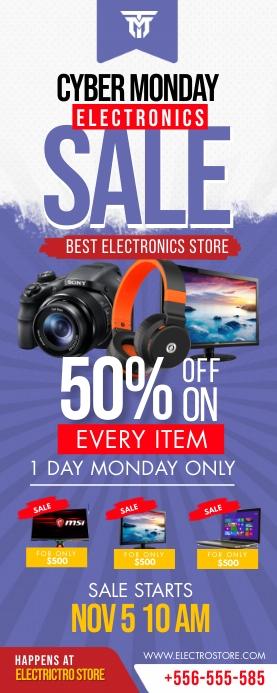 Retail Cyber Monday 3'x6' Electronics Sale Ba Cartel enrollable de 2 × 5 pulg. template