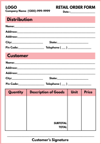 Retail Order Form Printable Template A4