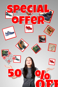 Retail poster for special offer - With photos - Theme: Clothing, shoes, fashion