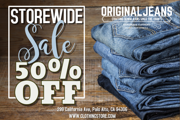 retail sale jeans template postermywall