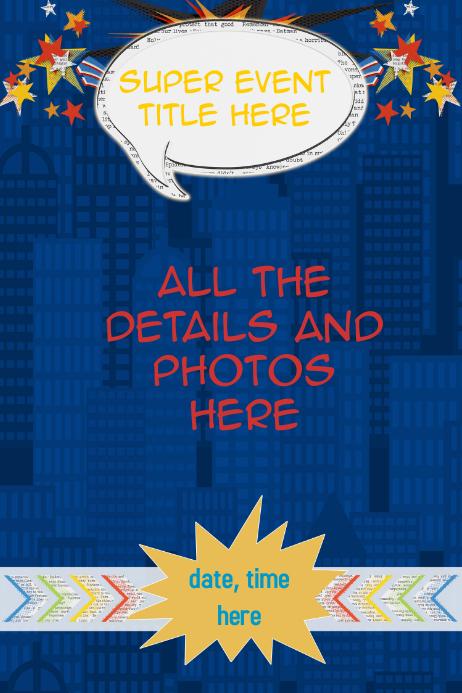Retail Sales Poster Superhero Personalized Poster Invitation Plakat template