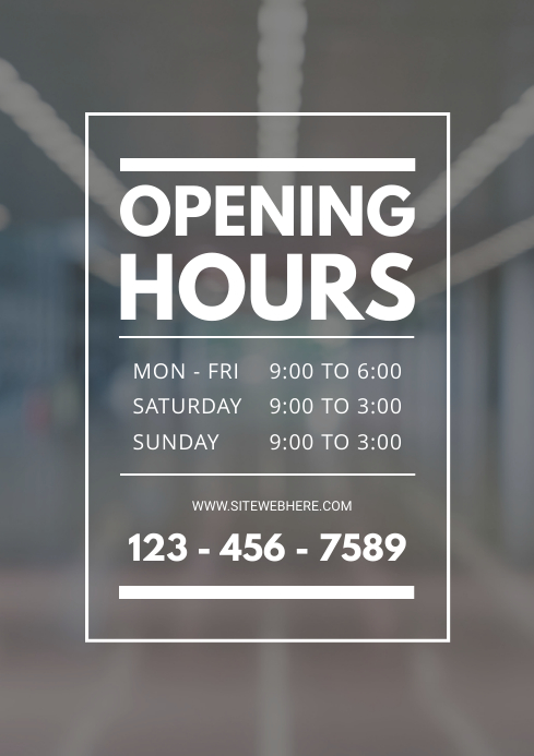 Retail Store Opening Timings Template A4