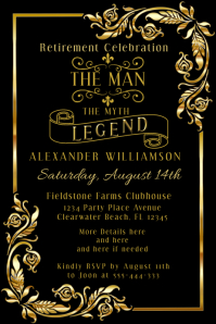 Retirement Party Black Gold Mans Invitation Poster template