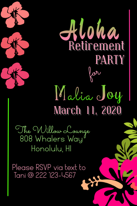 Retirement Party 海报 template