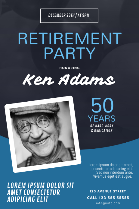 Retirement Party Flyer Design Template Cartaz