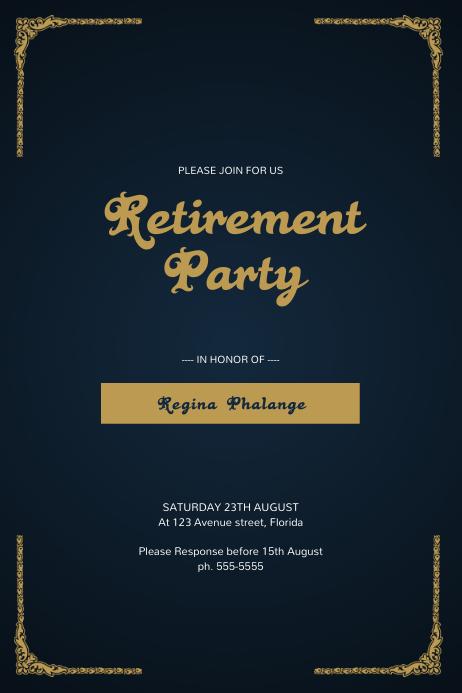 Retirement Party Flyer Template Plakat